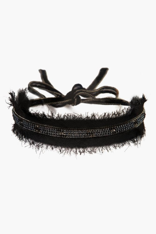 Black Mix Raw Edge Beaded Choker