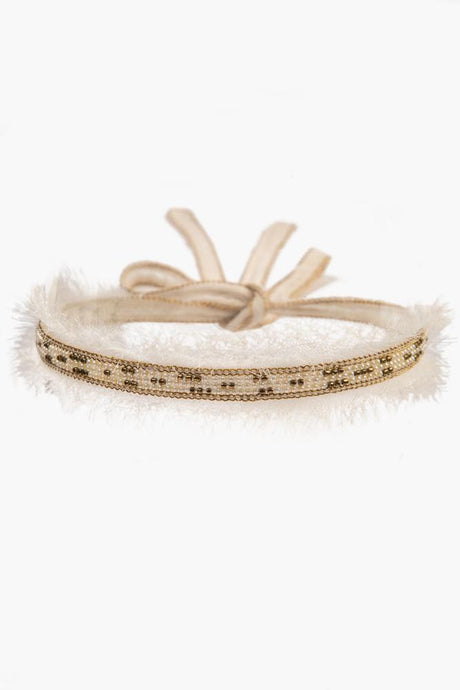 White Swan Mix Raw Edge Beaded Choker