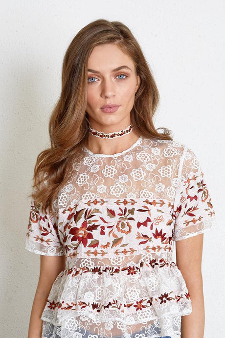 White Swan Red Pear Cut Floral Embroidered Choker
