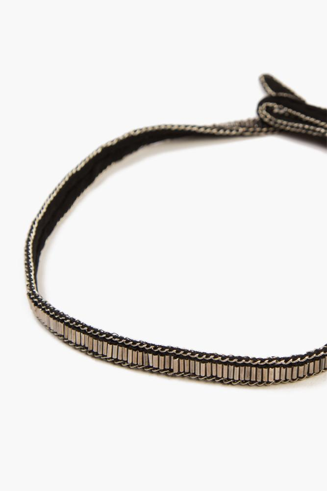 Black Gunmetal Single Row Bugle Bead Choker