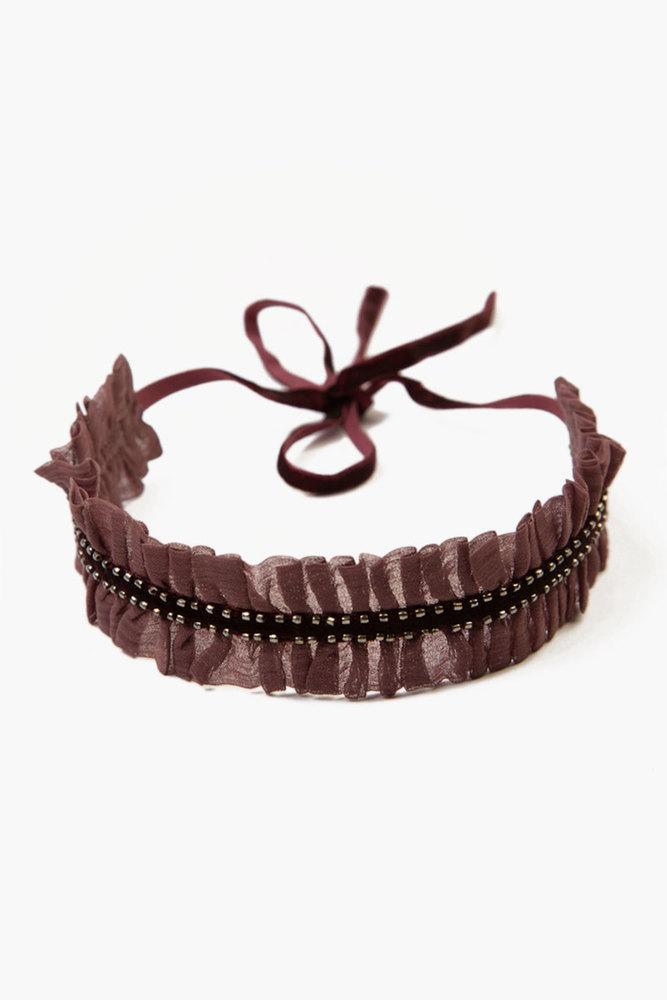 Huckleberry Fig Ribbon Ruffle Choker