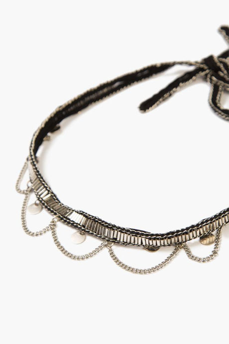 Black Silver Hanging Coins and Chains Choker