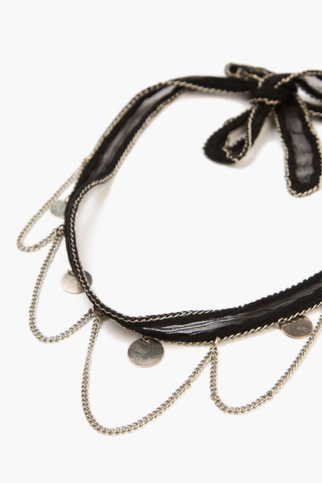 Black Silver Chains and Coins Choker