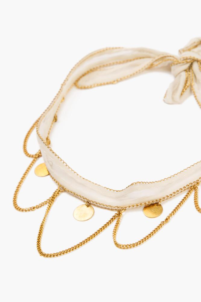 White Swan Gold Chains and Coins Choker