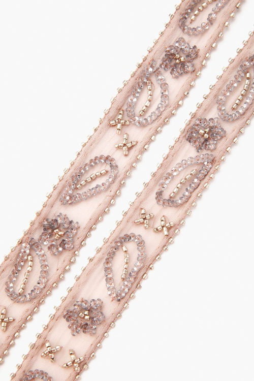 Cloud Grey Beaded Short Skinny Scarf