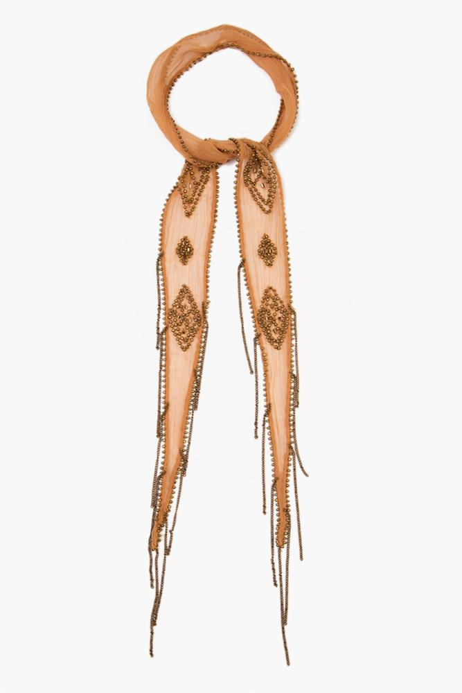 Lion Gold Beaded Diamond Short Skinny Scarf