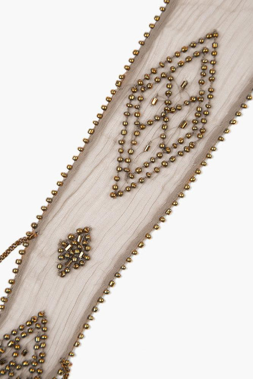 Vetiver Beaded Diamond Short Skinny Scarf