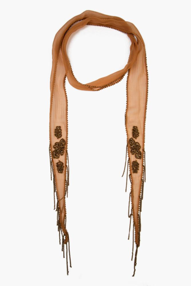 Lion Gold Bugle Beaded Flower Skinny Scarf