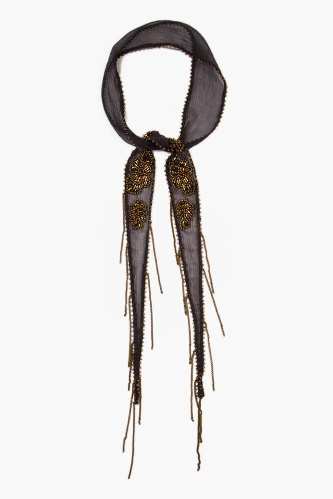 Ebony Gold Bugle Beaded Flower Short Skinny Scarf