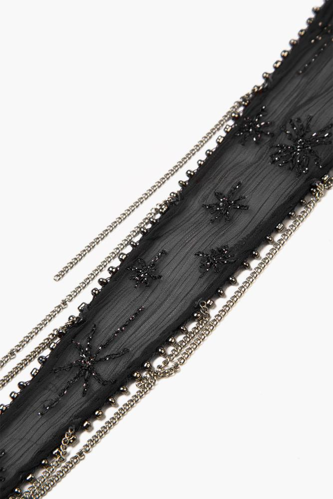 Black Embroidered Starburst Short Skinny Scarf