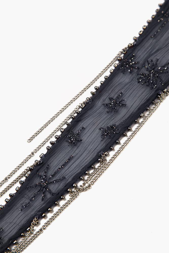 Ebony Embroidered Starburst Short Skinny Scarf