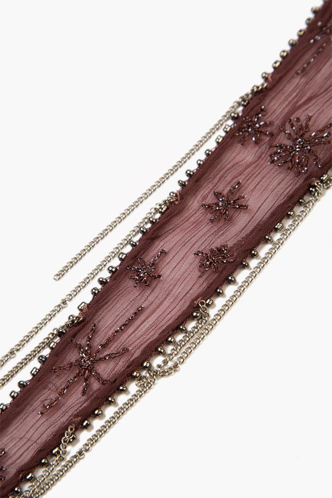 Huckleberry Embroidered Starburst Short Skinny Scarf