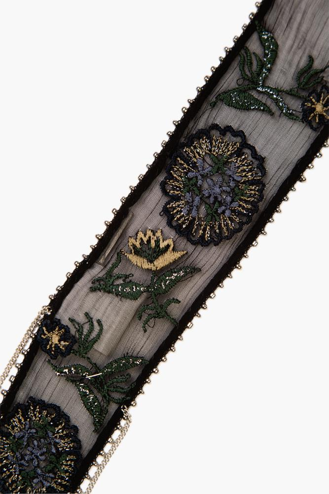 Black Mix Floral Embroidered Skinny Scarf