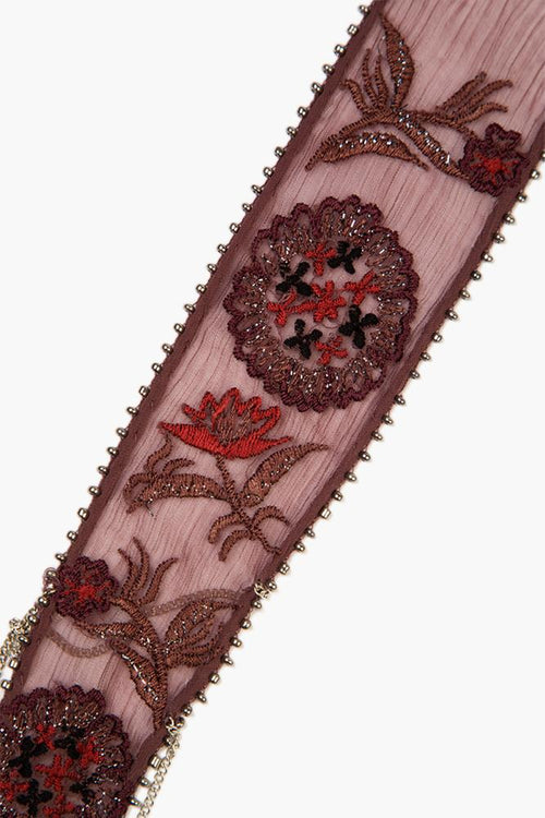 Huckleberry Mix Floral Embroidered Skinny Scarf