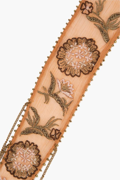 Lion Mix Floral Embroidered Skinny Scarf