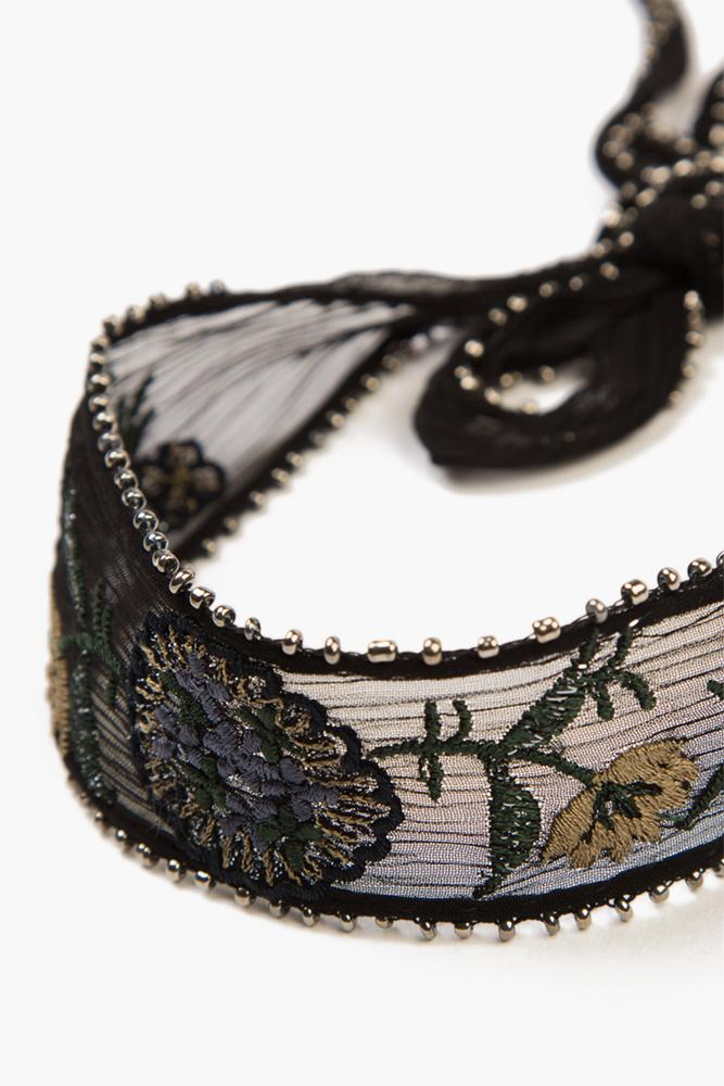 Black Mix Wide Floral Embroidered Choker