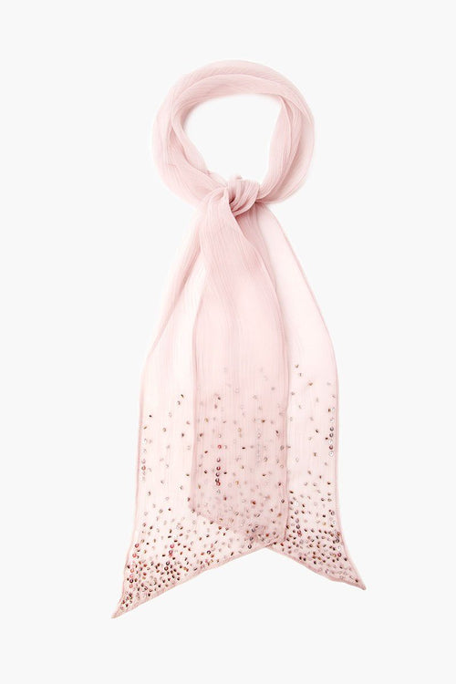 Cloud Grey Scattered Sequins Scarf Tie
