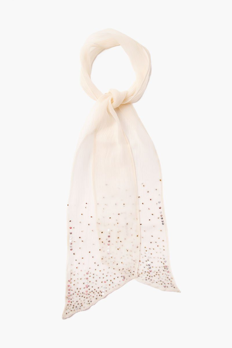 Seed Pearl Scattered Sequins Scarf Tie