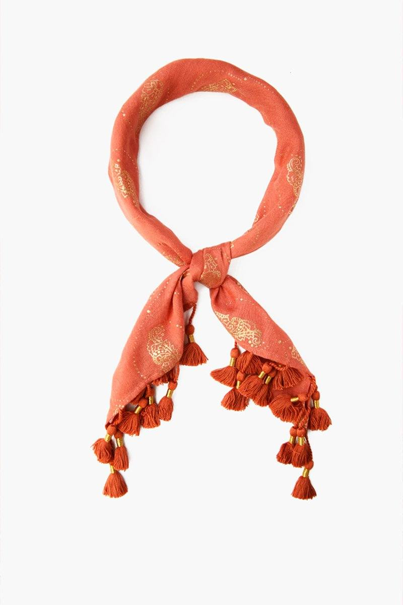 Redwood Ornate Floral Print Bandana With Tassels