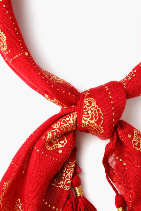 Rio Red Ornate Floral Print Bandana With Tassels