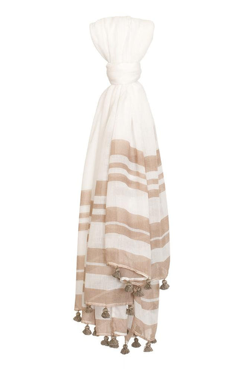 Oxford Tan Chunky Stripe Scarf