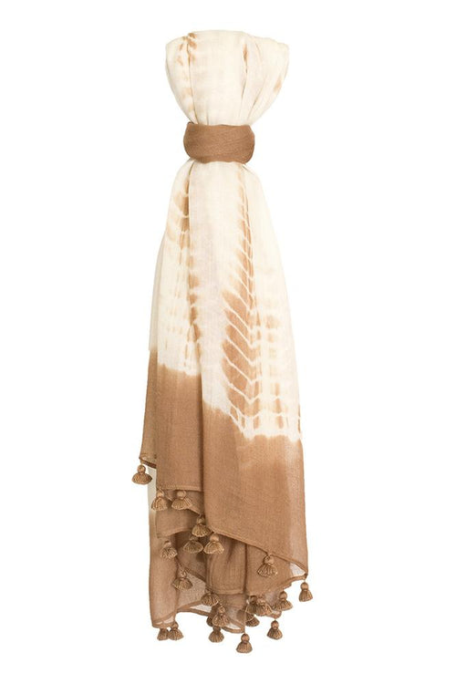 Toasted Coconut Tie-Dye Print Scarf