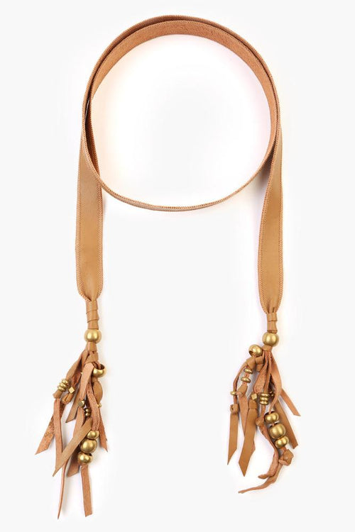 Toasted Coconut Leather Tassel Skinny Scarf