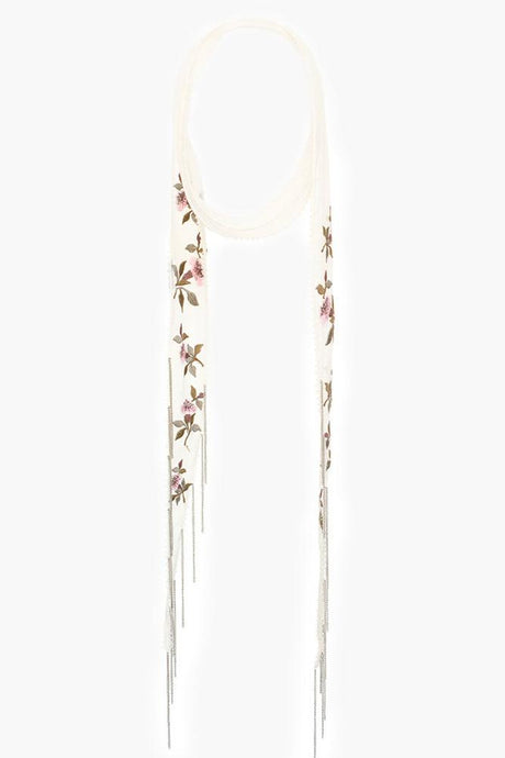 Birch Mix Vintage Floral Embroidered Long Skinny Scarf