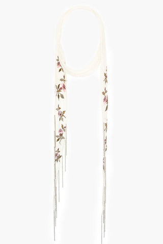 Verdant Green Painterly Floral Short Skinny Scarf