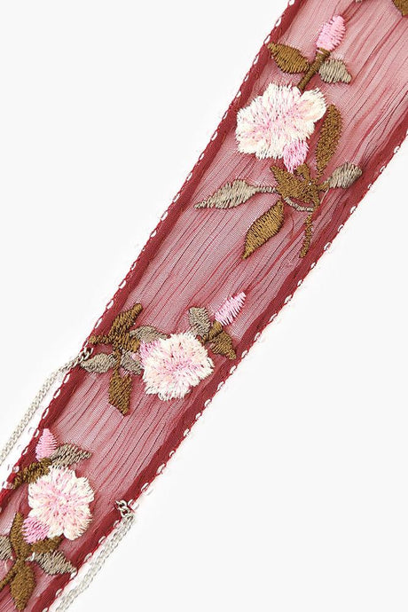 Andorra Mix Vintage Floral Embroidered Short Skinny Scarf
