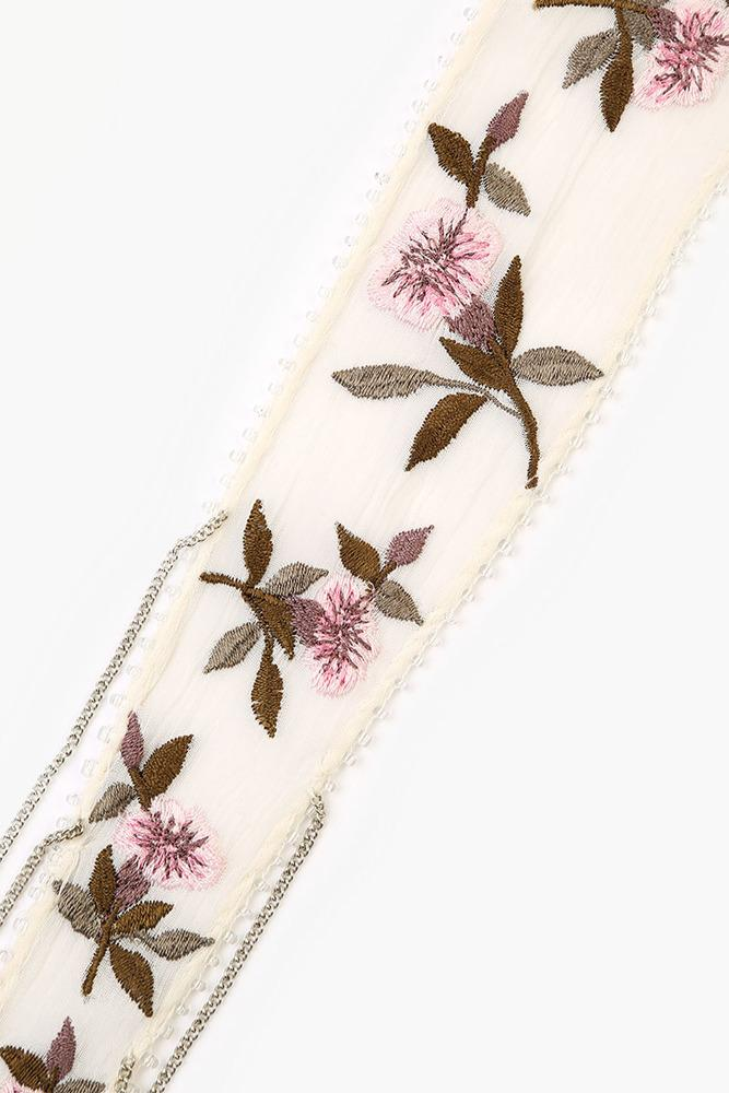 Birch Mix Vintage Floral Embroidered Short Skinny Scarf