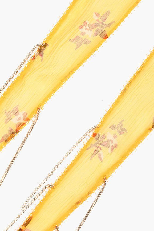Mineral Yellow Mix Floral Short Skinny Scarf
