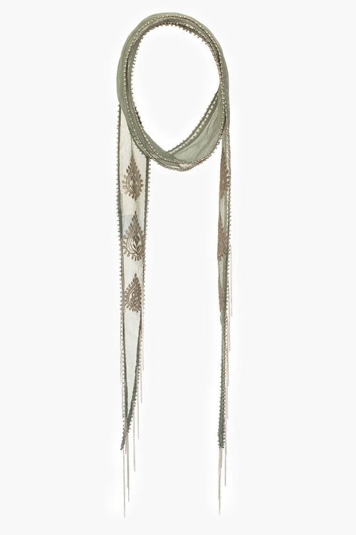 Beetle Gunmetal Paisley Amulet Embroidered Long Skinny Scarf