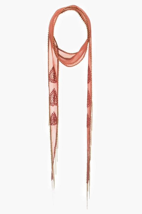Henna Antique Gold Paisley Amulet Embroidered Long Skinny Scarf