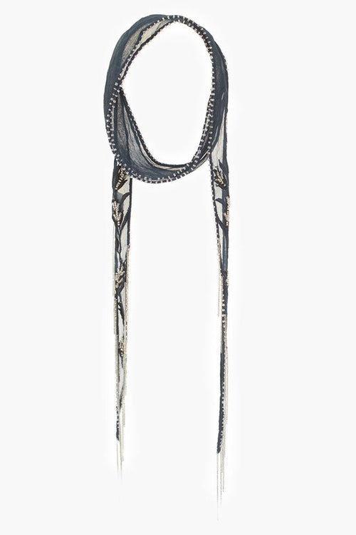 Total Eclipse Wheat Embroidered Long Skinny Scarf
