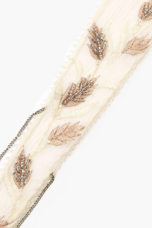 Birch Wheat Embroidered Short Skinny Scarf