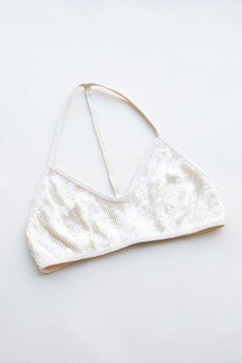 White Swan-Clear Sequin T-Back Bra