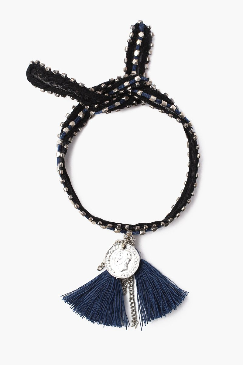 Black Total Eclipse Chiffon Nugget and Tassel Bracelet