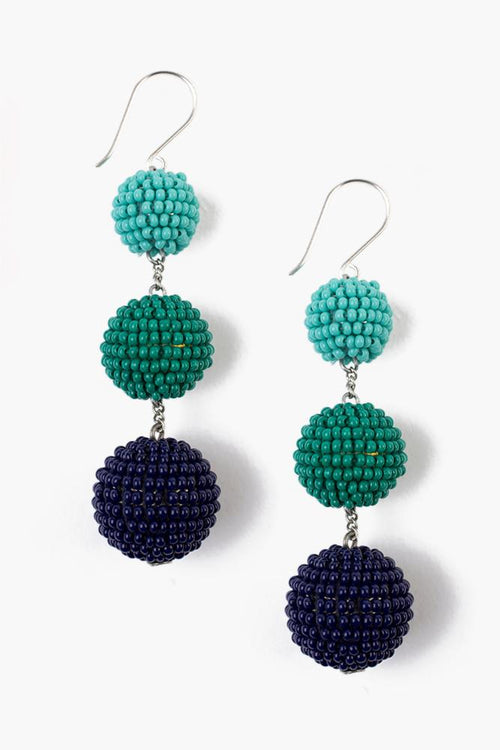 New Turquoise Mix Tier Pom Pom Earrings
