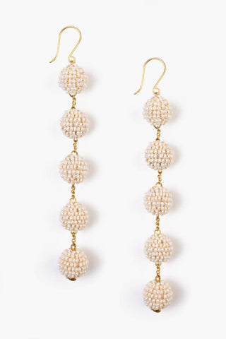 Sand Dollar Tier Small Pom Pom Earrings