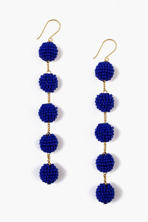 Strong Blue Tier Small Pom Pom Earrings