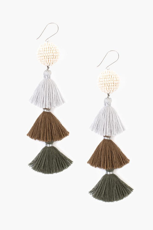 Dark Olive Tier Tassel Earrings