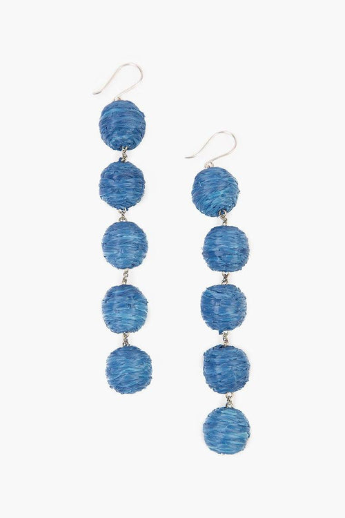 Baja Blue Five Tier Raffia Pom Pom Earrings