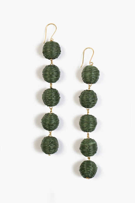 Beetle Five Tier Raffia Pom Pom Earrings