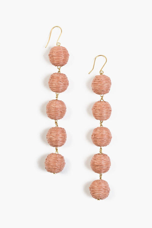 Café Crème Five Tier Raffia Pom Pom Earrings