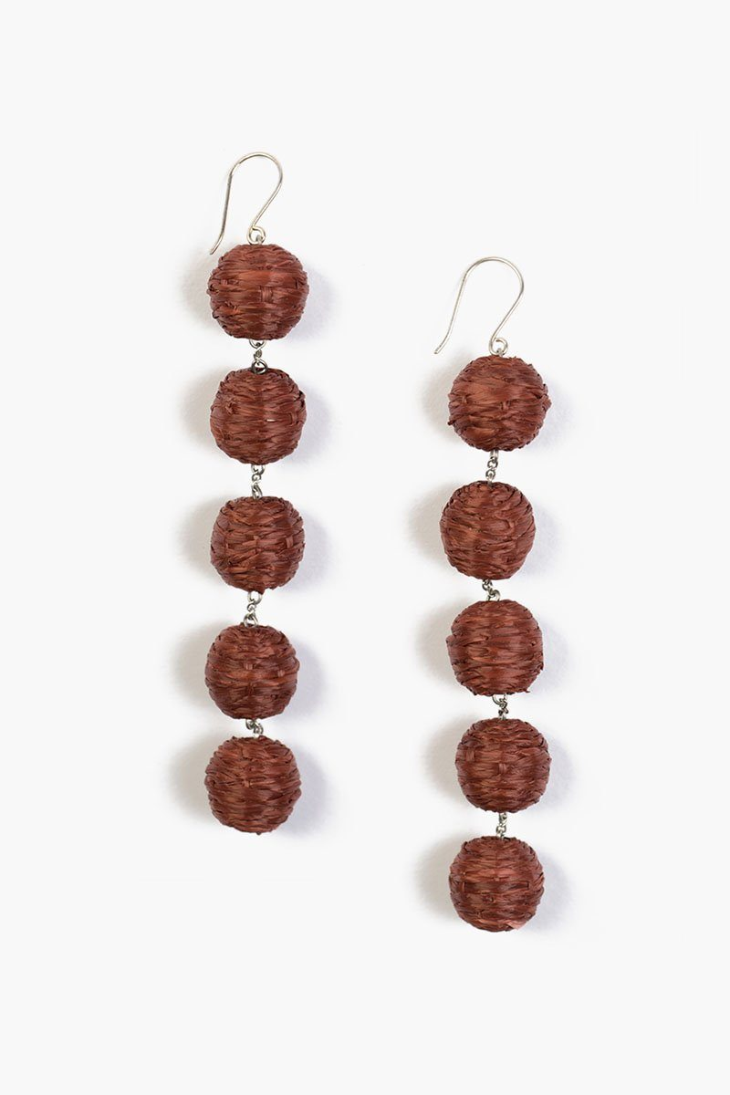 Henna Five Tier Raffia Pom Pom Earrings
