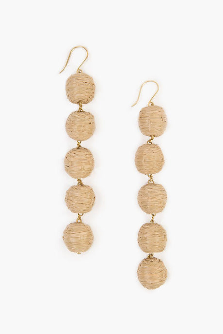 Doeskin Five Tier Raffia Pom Pom Earrings