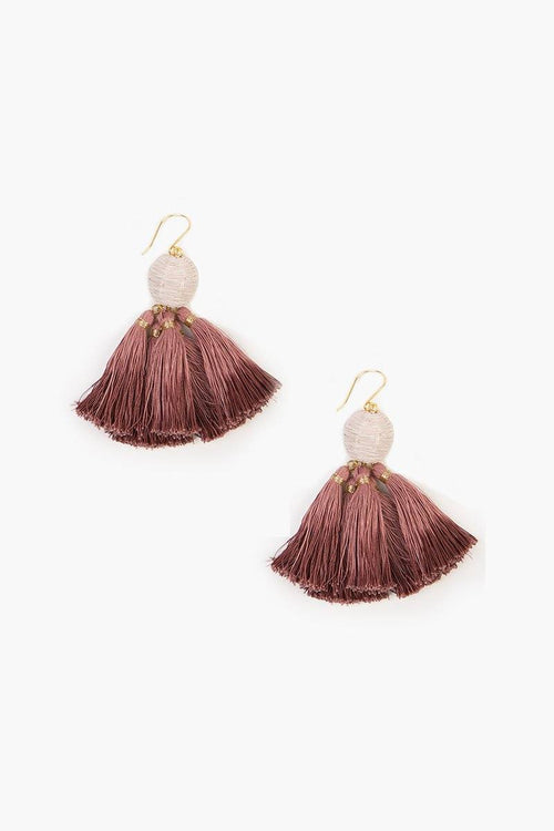 Andorra Combo Raffia Pom Pom with Dip-Dye Tassels Earrings