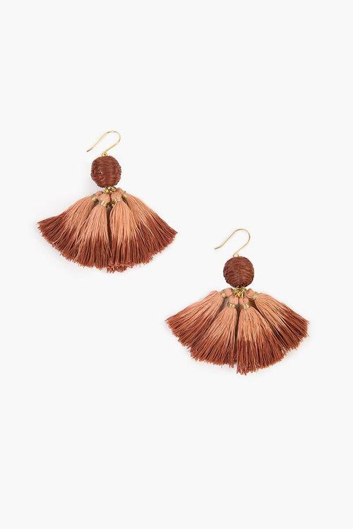 Café Crème Combo Raffia Pom Pom with Dip-Dye Tassels Earrings