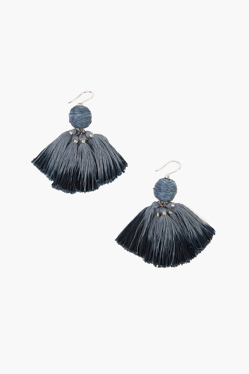 Flint Stone Combo Raffia Pom Pom with Dip-Dye Tassels Earrings